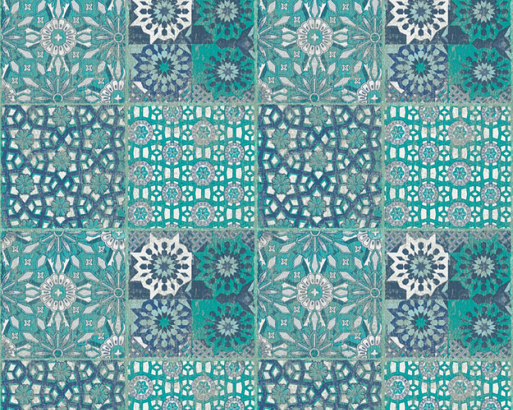 A.S. Création Wallpaper Tile, 3D, Black, Blue, Green, Grey 368953