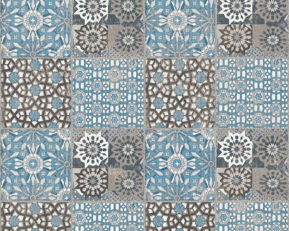 A.S. Création Wallpaper Tile, Black, Blue, Grey 368955