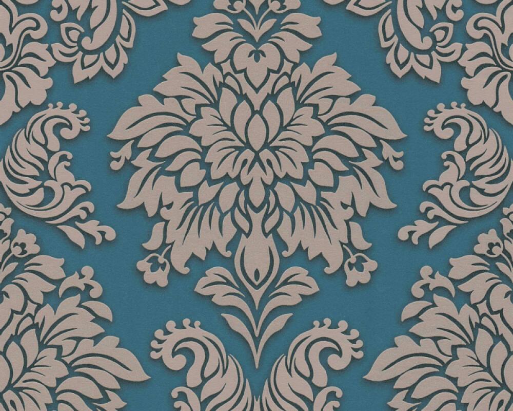 Livingwalls papier peint Baroque, 3D, argent, beige, bleu, métallique 368985