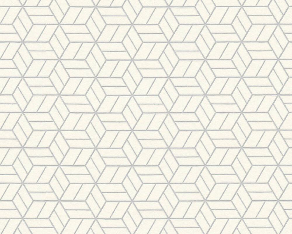 Livingwalls Tapete Grafik 3d Grau Metallics Silber Weiss 369203