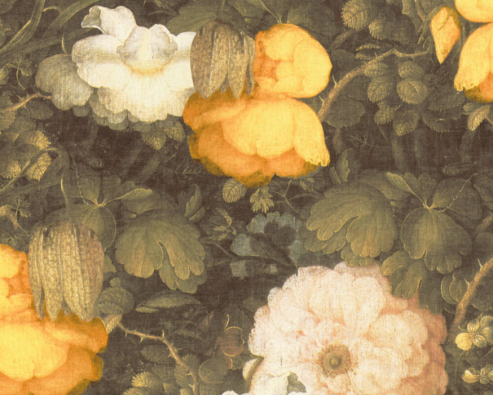 Livingwalls Wallpaper Cottage, Flowers, Cream, Green, Yellow 369211