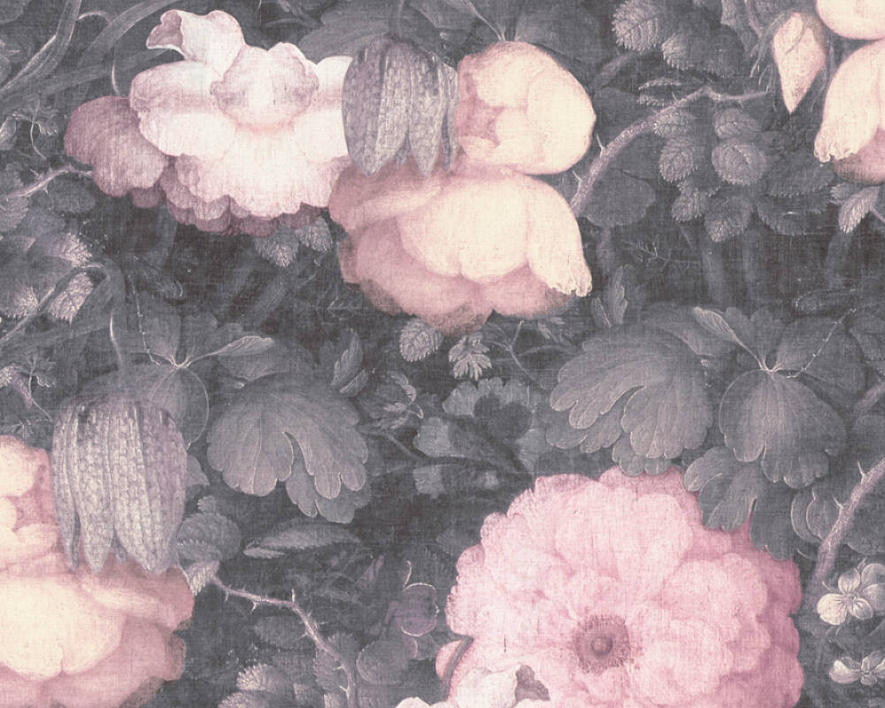Livingwalls Wallpaper Baroque, Flowers, 3D, Black, Green, Grey, Pink 369212