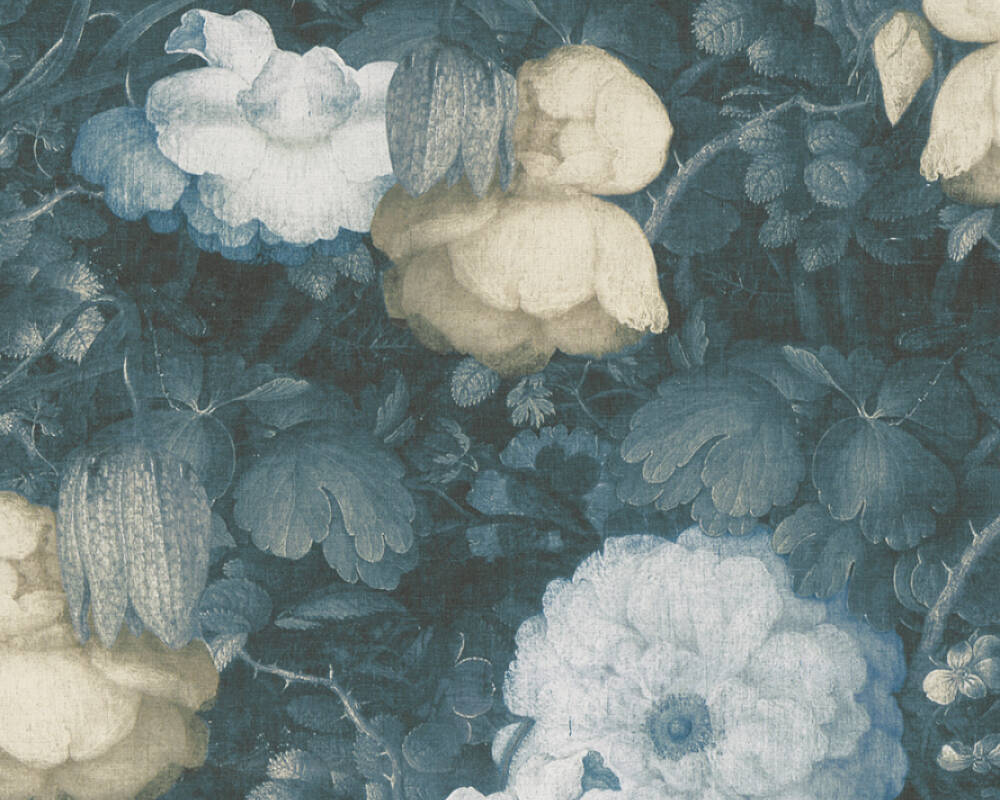 Livingwalls Wallpaper Baroque, Flowers, 3D, Black, Blue, Green, Yellow 369213