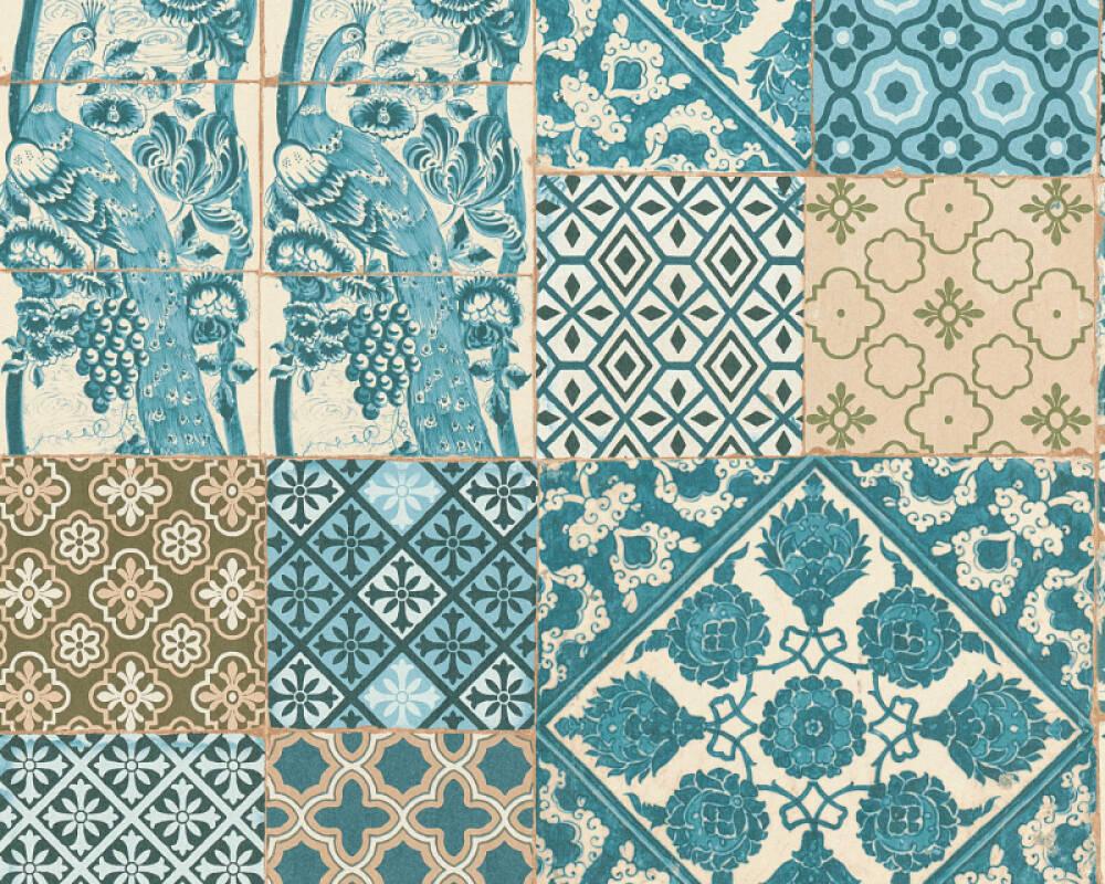 Livingwalls papier peint Tuile, 3D, bleu, marron, turquoise, vert 369233