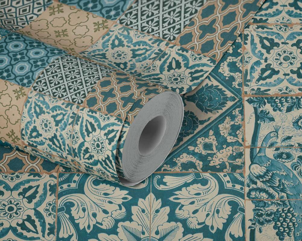 Nappes Papier Peint Carreaux 3d Turquoise Bleu Titanium Livingwalls 36001-1 3,81 €//1qm