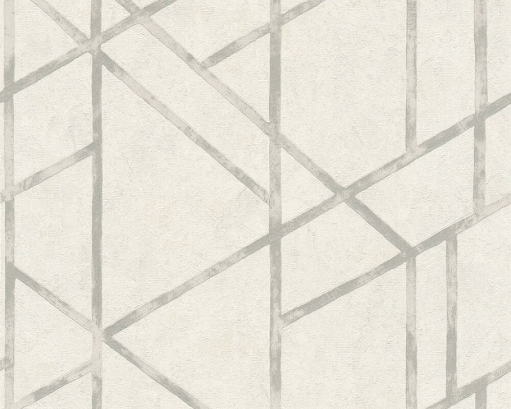 Livingwalls Wallpaper Graphics, Metallic, Silver, White 369285