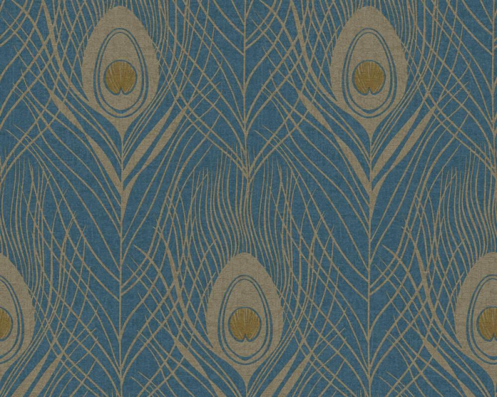 Architects Paper papier peint Graphique, bleu, jaune, métallique, or 369712