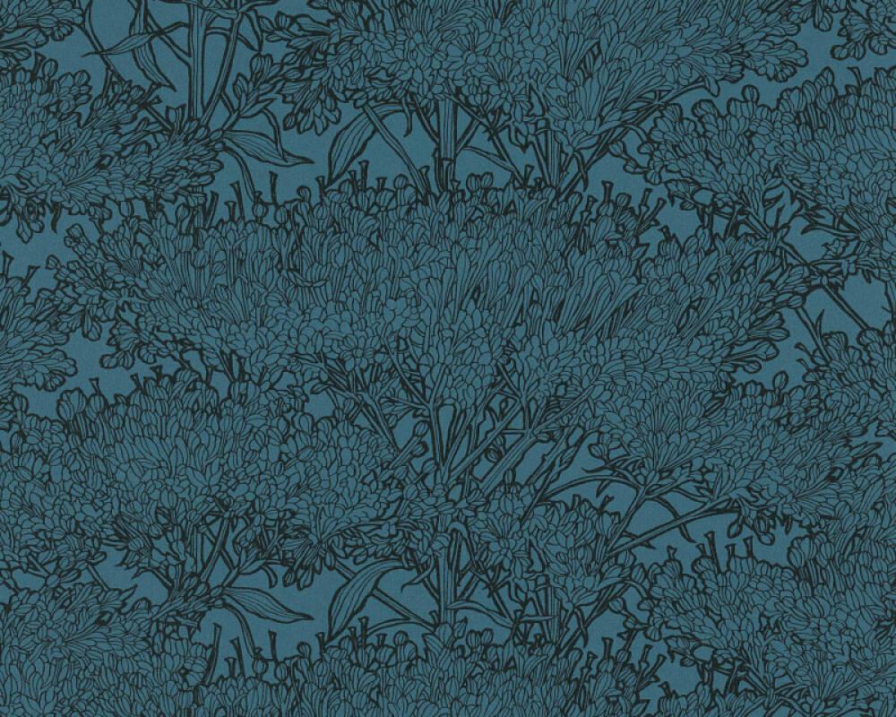 Architects Paper papier peint Floral, bleu, noir 369726