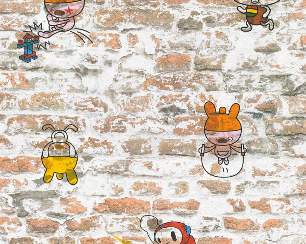 A.S. Création Wallpaper Child motif, Stone, Beige, Black, Blue, Brown 369871