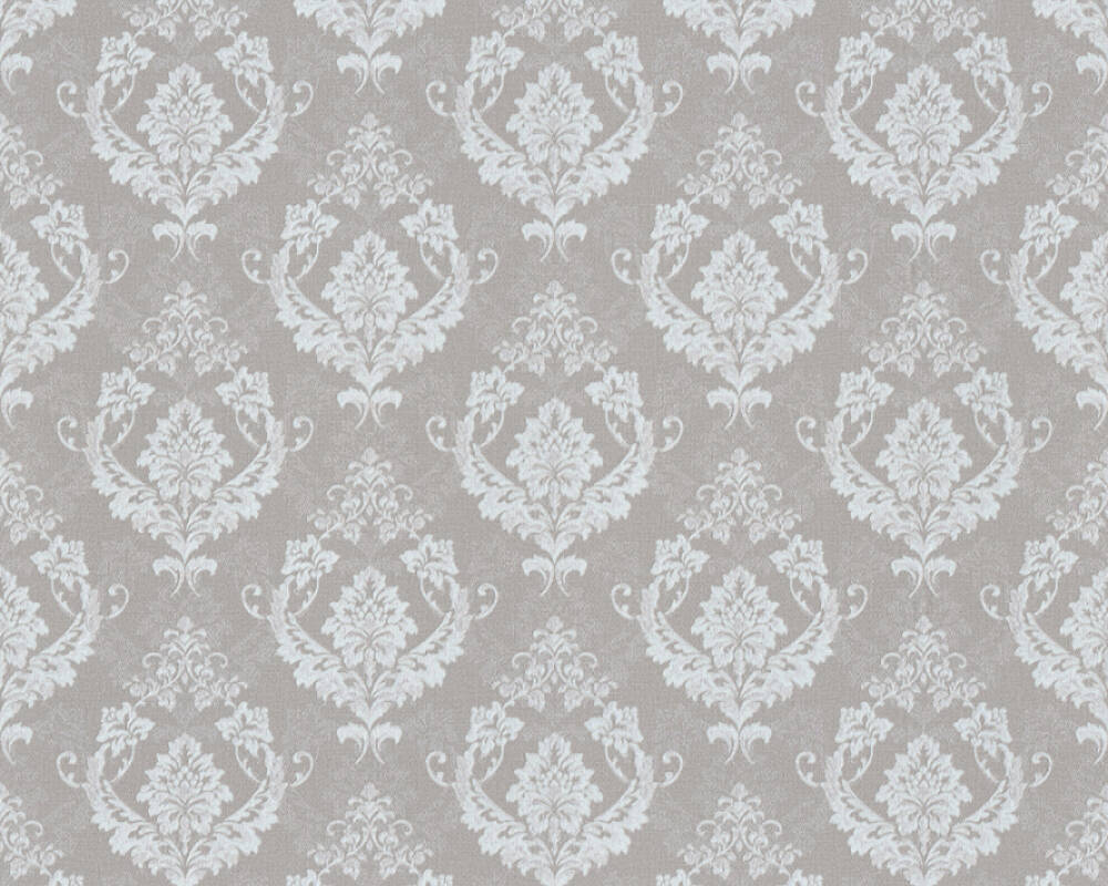 A.S. Création Wallpaper Baroque, Beige, Grey, Metallic, Silver 370004