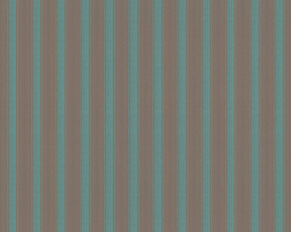 A.S. Création Wallpaper Stripes, Blue, Brown, Green, Turquoise 370013
