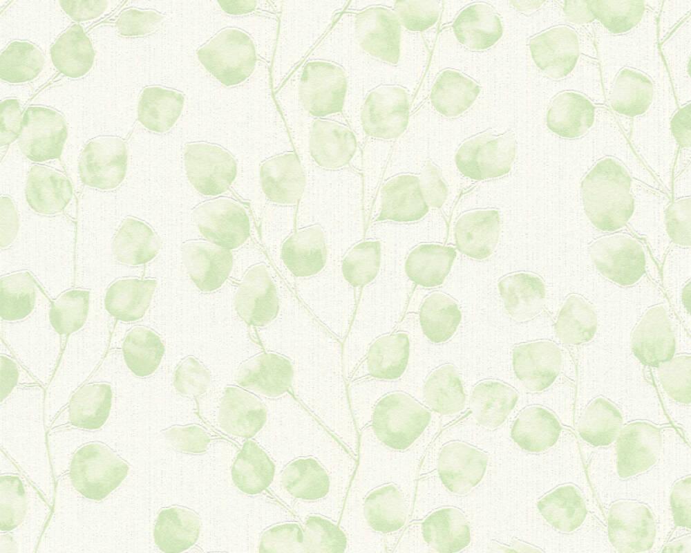 A.S. Création papier peint Floral, blanc, vert 370051