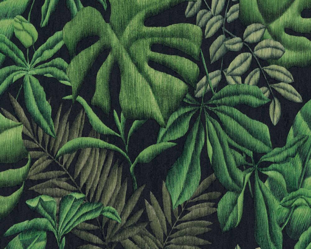 A.S. Création papier peint Jungle, noir, vert 370331