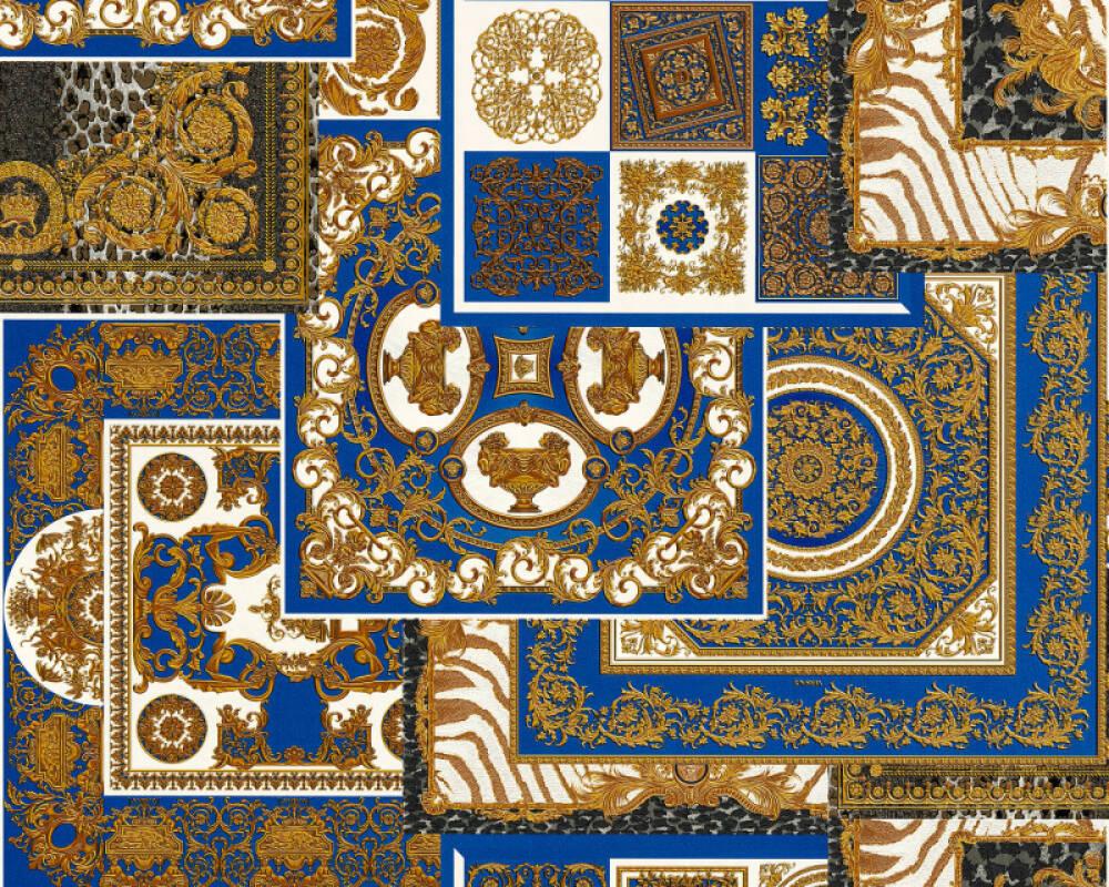 Versace Home Tapete Barock, Blau, Gold, Metallics, Schwarz 370481