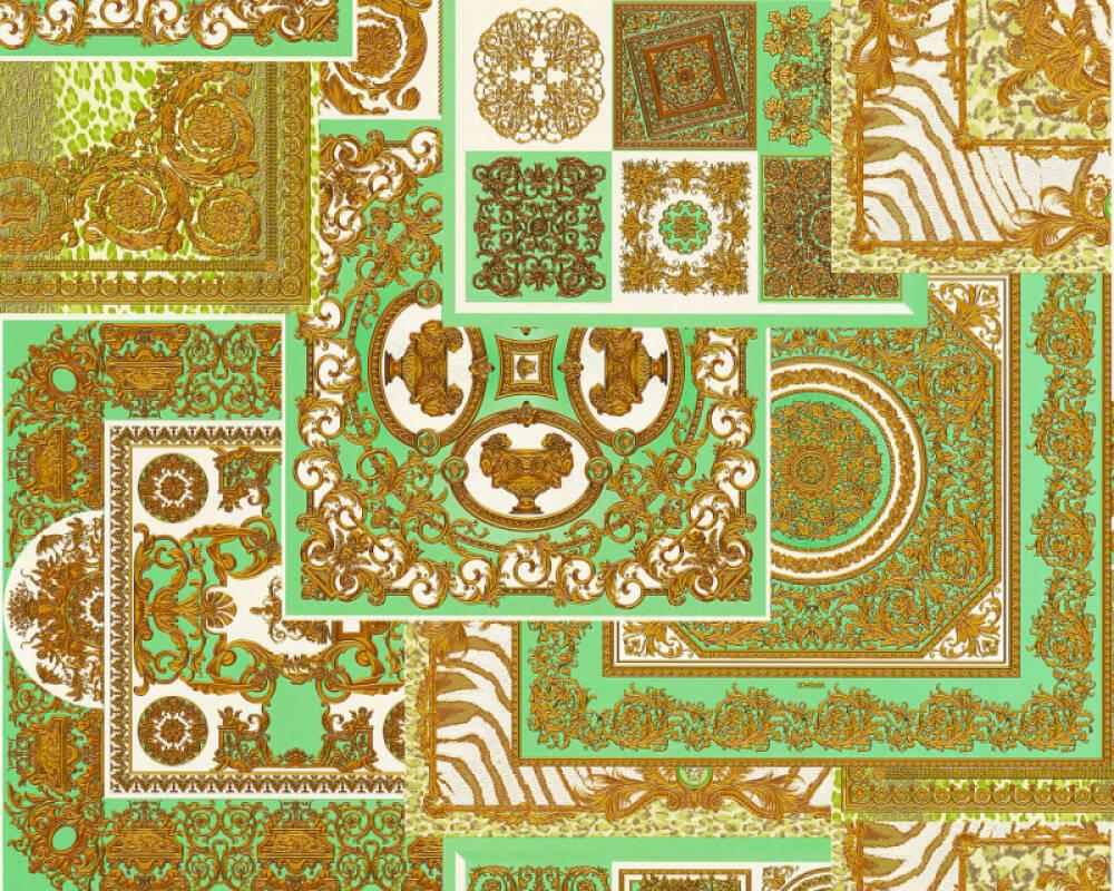 Versace Home Tapete Barock, Braun, Creme, Gold, Grün 370482