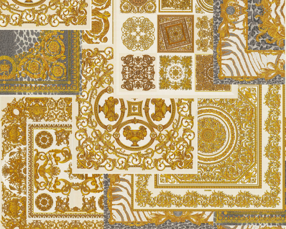 Versace Home Wallpaper Baroque Black Brown Cream Gold 370484