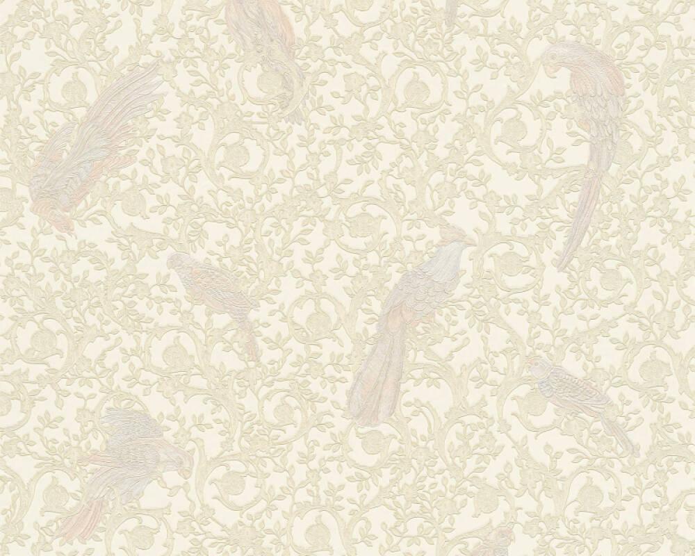 Versace Home Tapete Barock, Blumen, Beige, Blau, Creme, Gold 370535