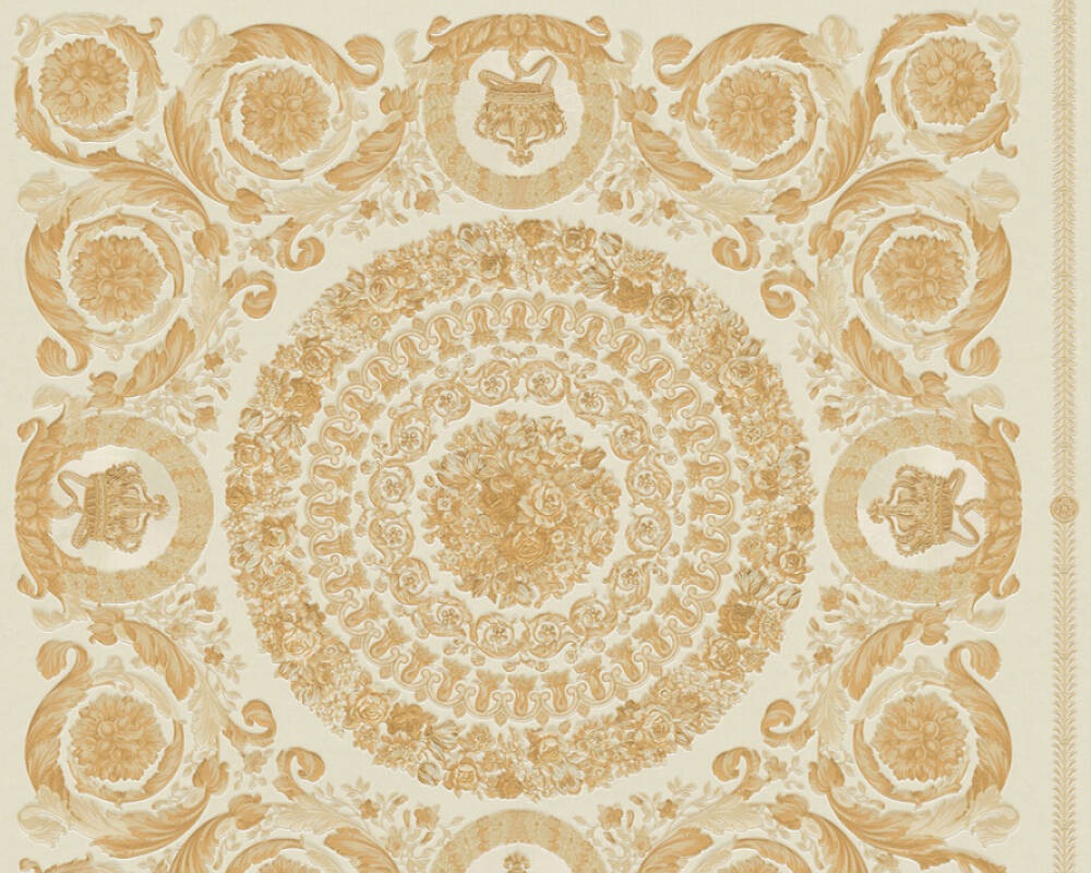 Versace Home Wallpaper Baroque, Beige, Cream, Gold, Metallic 370552