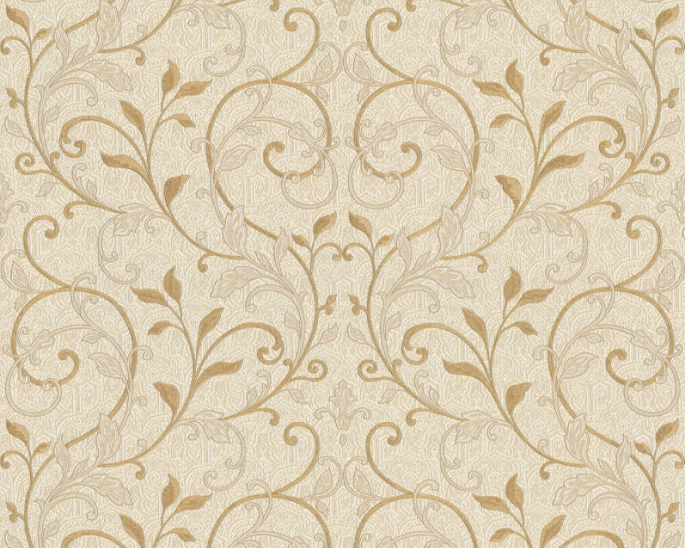 As Creation Wallpaper Floral Beige Cream Gold Metallic 370572