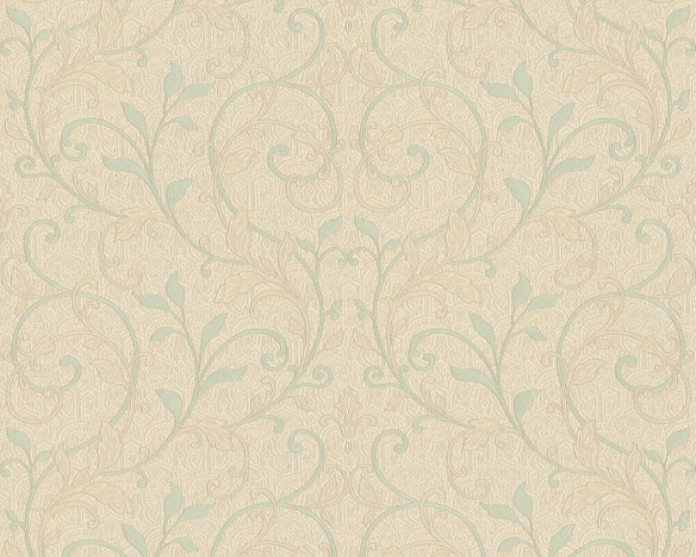 A.S. Création Wallpaper Floral, Beige, Blue, Green, Turquoise 370574