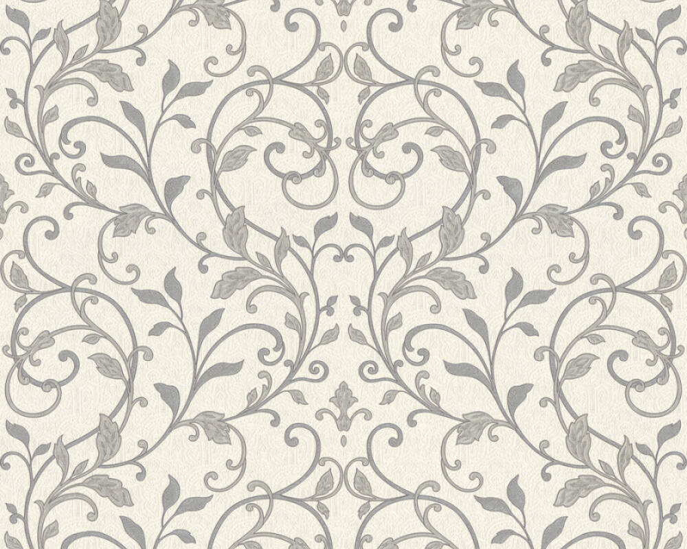 A.S. Création Wallpaper Floral, Black, Metallic, Silver, White 370576