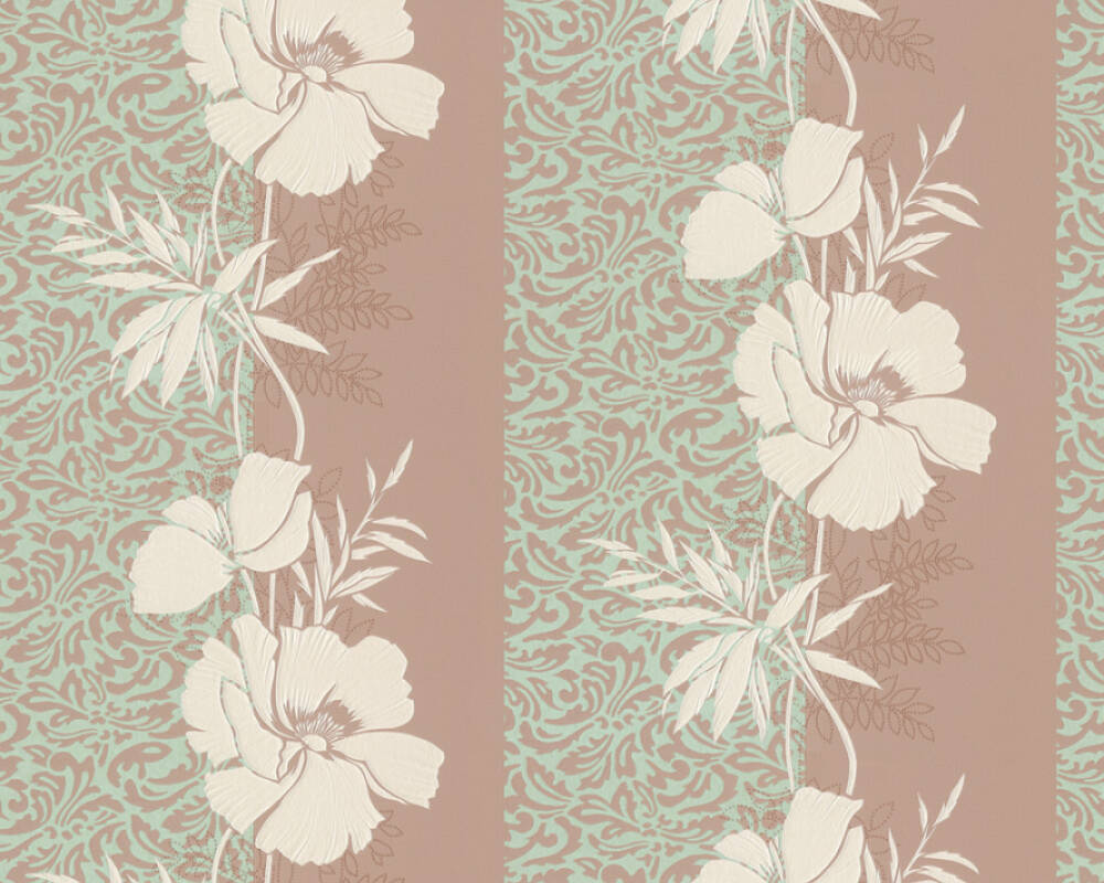 A.S. Création Wallpaper Baroque, Floral, Brown, Cream, Green, Turquoise 370730