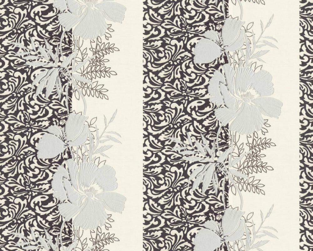 A.S. Création papier peint Baroque, Floral, argent, blanc, gris, noir 370747