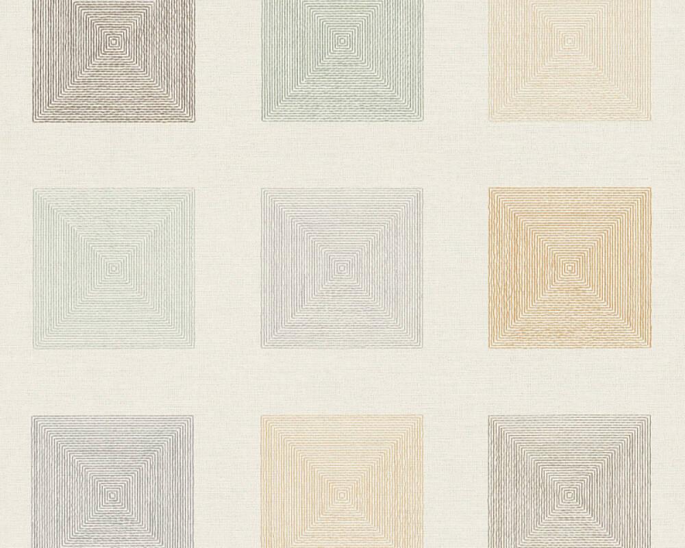 A.S. Création papier peint Graphique, Floral, crème, marron, orange, vert 371722