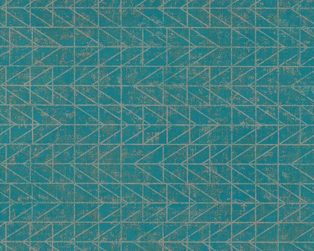 A.S. Création Wallpaper Graphics, Blue, Gold, Green, Metallic 371744