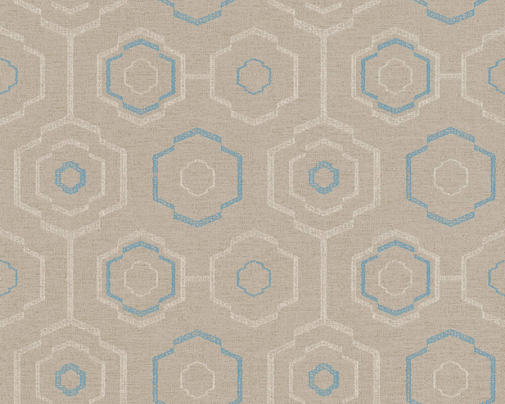 A.S. Création Wallpaper Graphics, Floral, Beige, Blue, Cream, Taupe 371771
