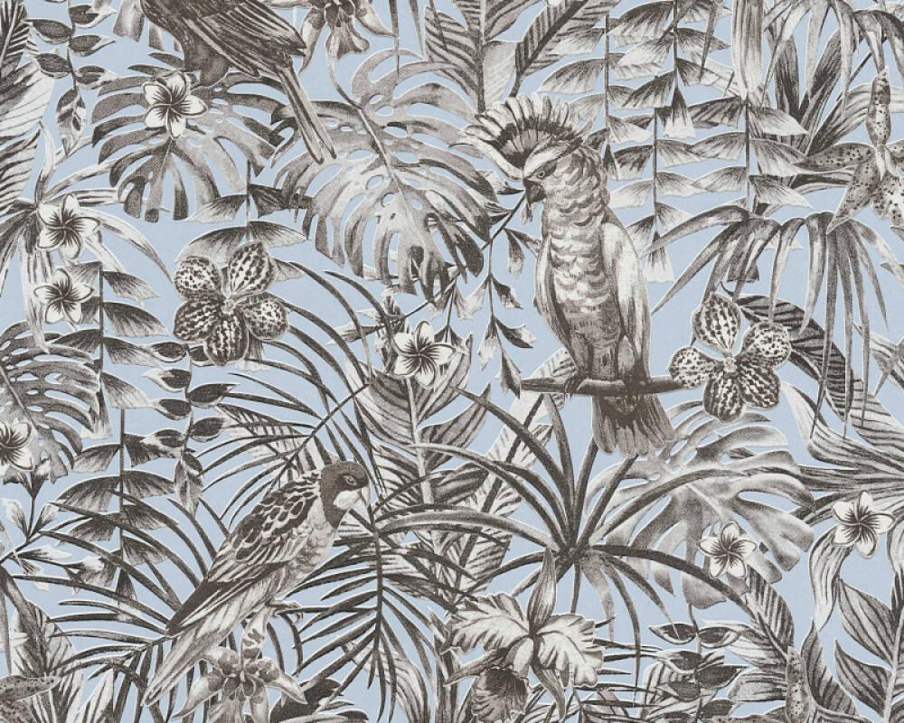 A.S. Création Wallpaper Jungle, Black, Blue, Grey, White 372103