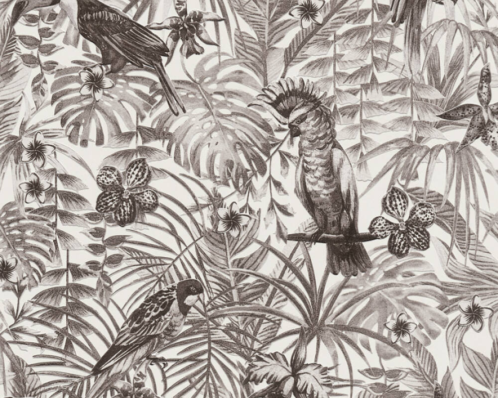 A.S. Création Wallpaper Floral, Black, Grey, White 372105