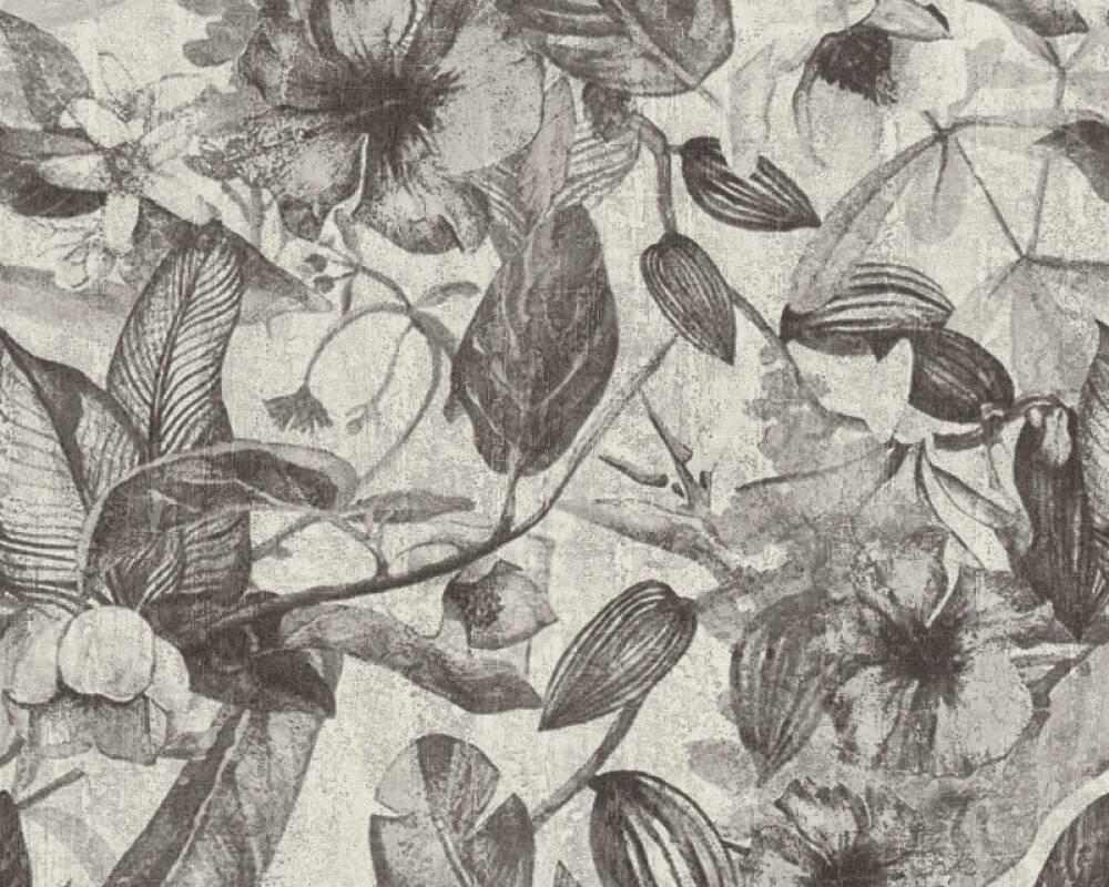 A.S. Création papier peint Fleurs, blanc, gris, noir 372163