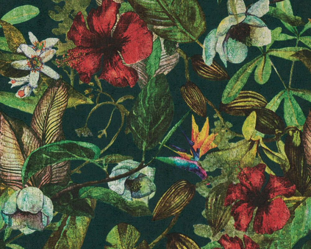 A S Creation Wallpaper Flowers Blue Brown Green Red 372165