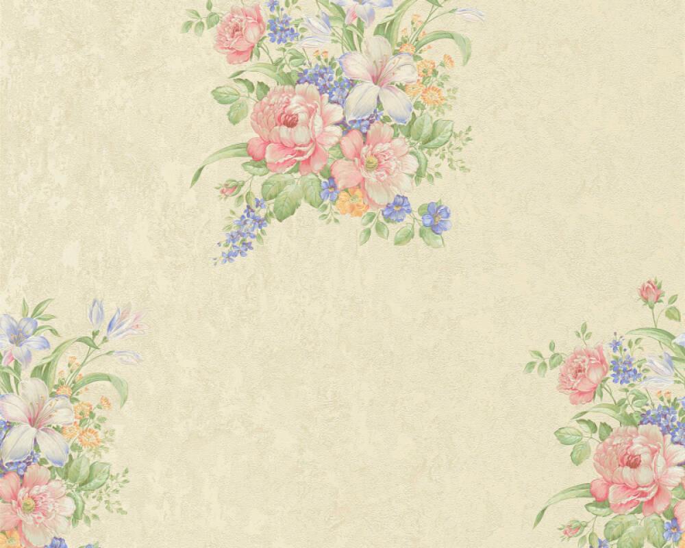 A.S. Création papier peint Fleurs, bleu, crème, rose, vert 372251