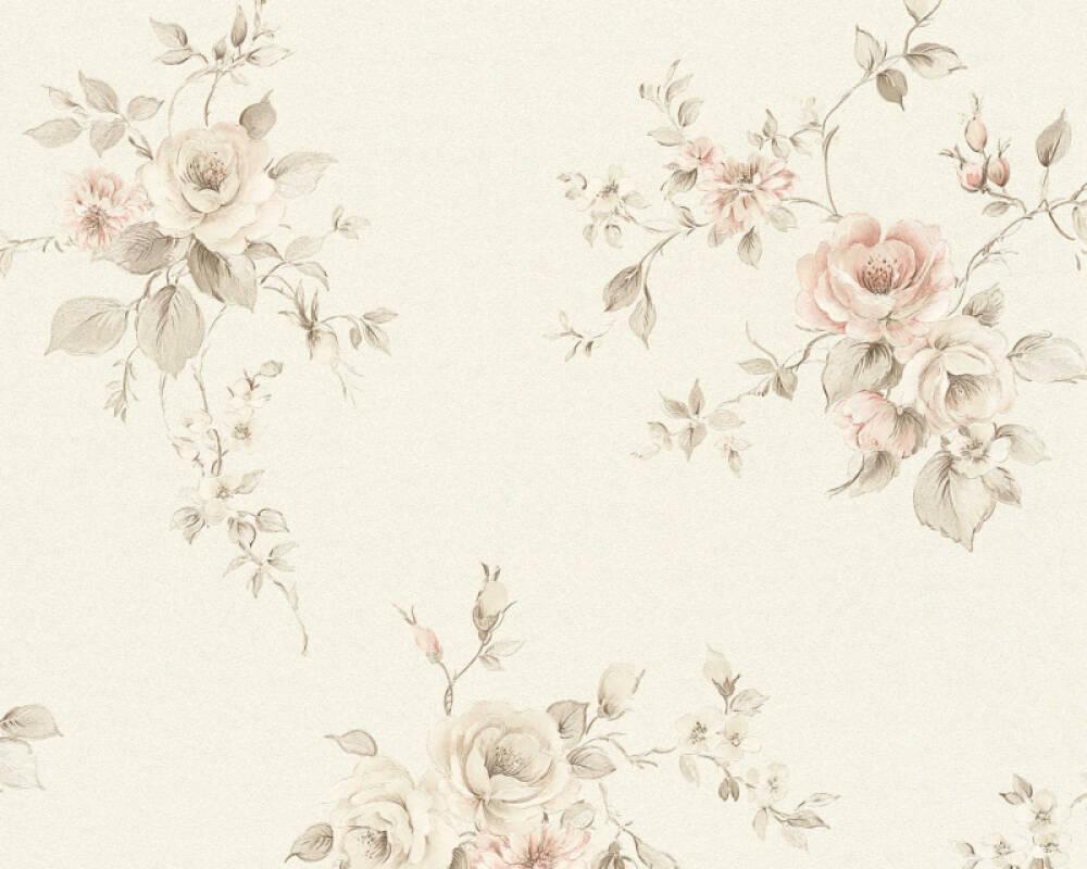 A.S. Création papier peint Fleurs, crème, gris, rouge 372314
