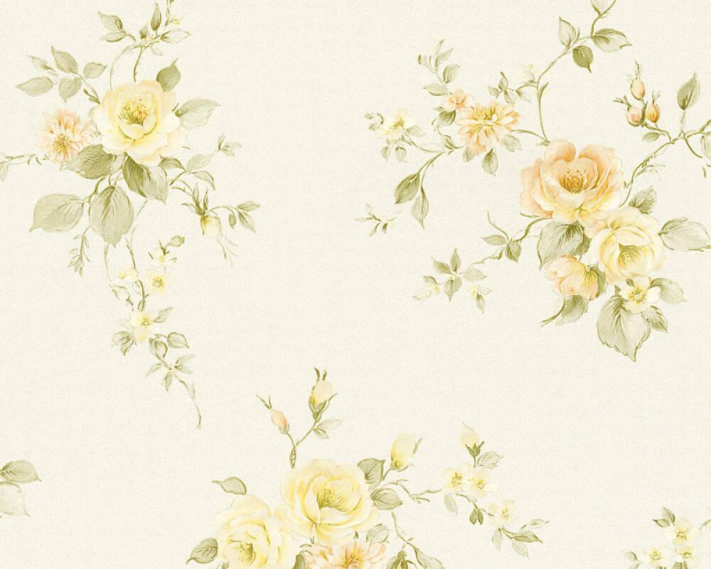 A.S. Création papier peint Fleurs, crème, jaune, orange, vert 372321