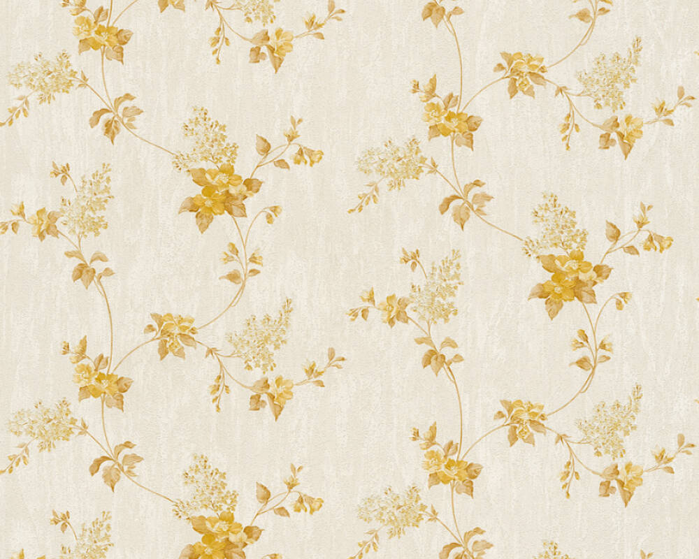 A.S. Création Tapete Floral, Gold, Metallics, Weiß 372512