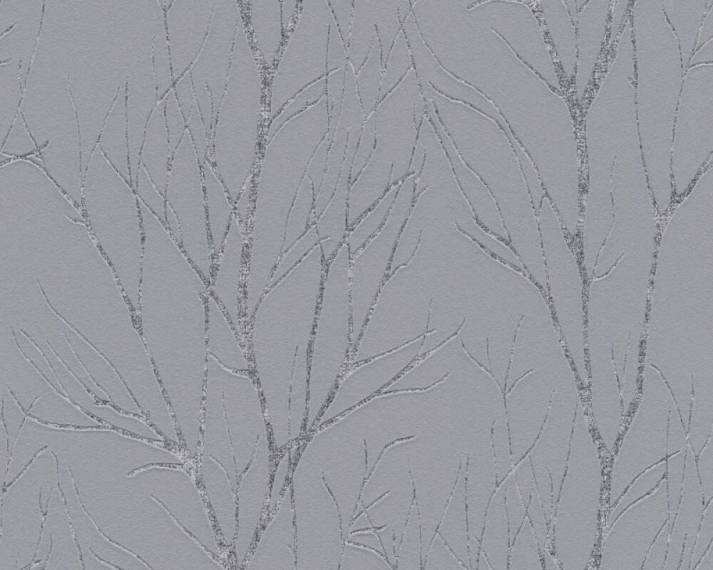 A.S. Création papier peint Floral, argent, gris, métallique 372601