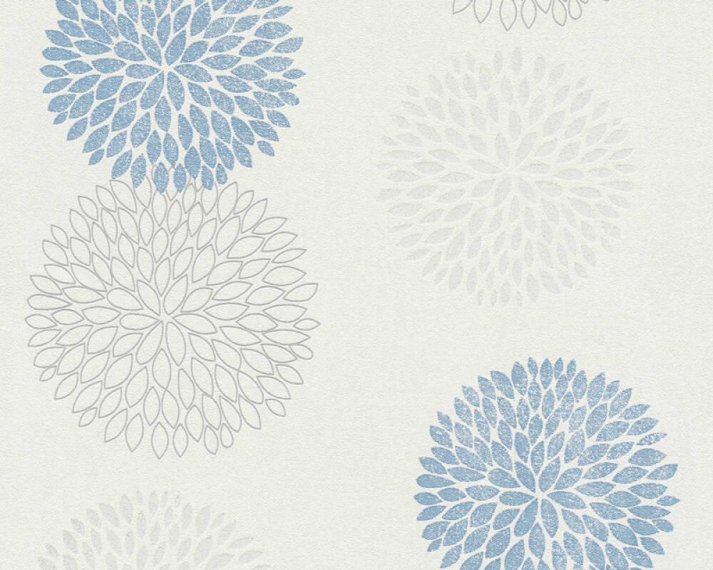 A.S. Création papier peint Floral, blanc, bleu, gris 372642