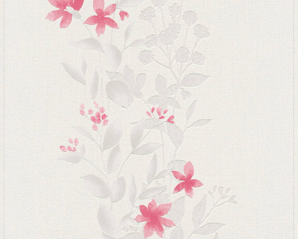 A.S. Création Wallpaper Flowers, Beige, Grey, Red, Taupe 372664