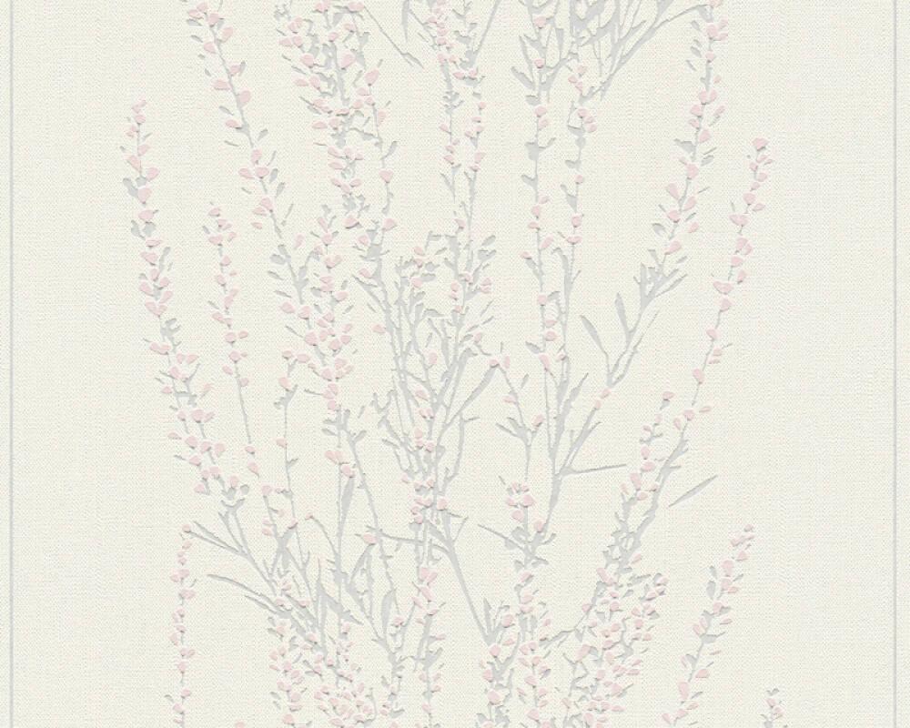A.S. Création papier peint Floral, argent, blanc, gris, métallique 372671