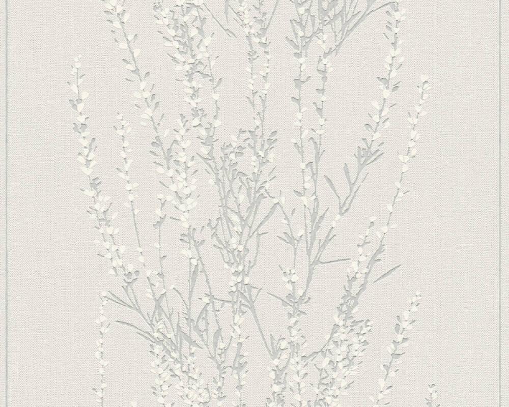 A.S. Création papier peint Floral, argent, beige, blanc, gris 372673