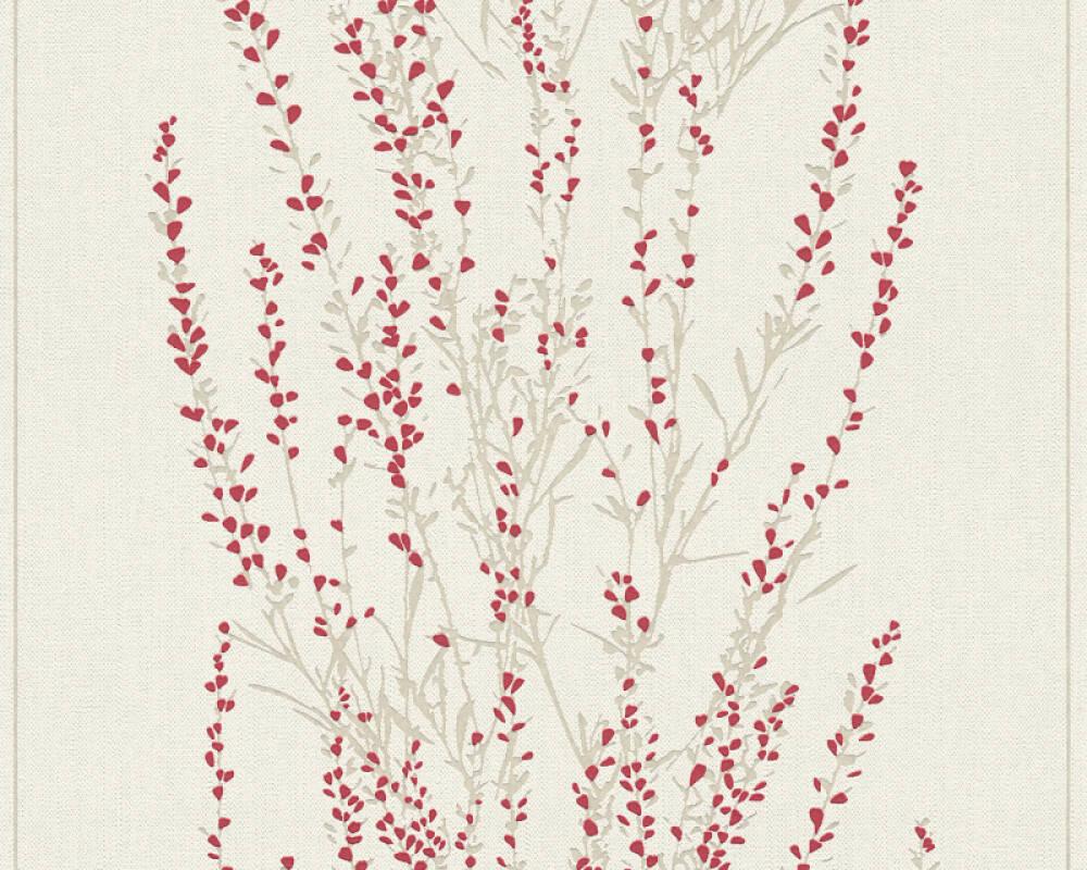 A.S. Création papier peint Floral, beige, rouge 372674