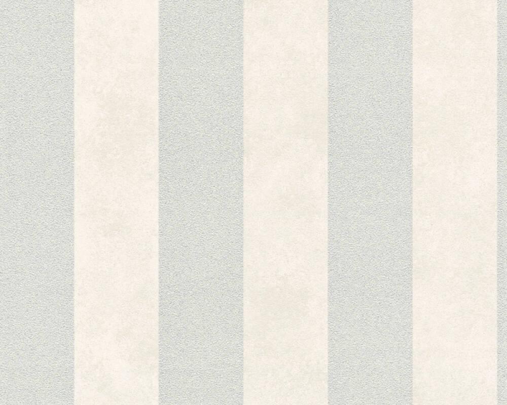 A.S. Création Wallpaper Stripes, Grey, Metallic, White 372712