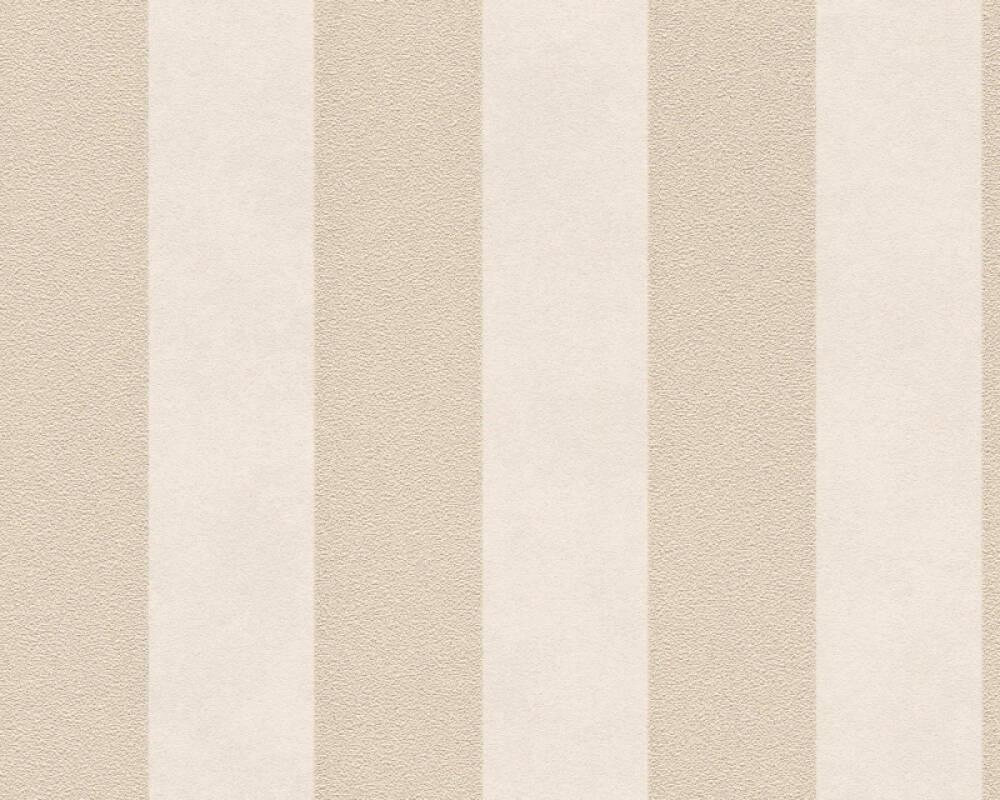 A.S. Création papier peint Rayures, beige, crème, métallique 372713