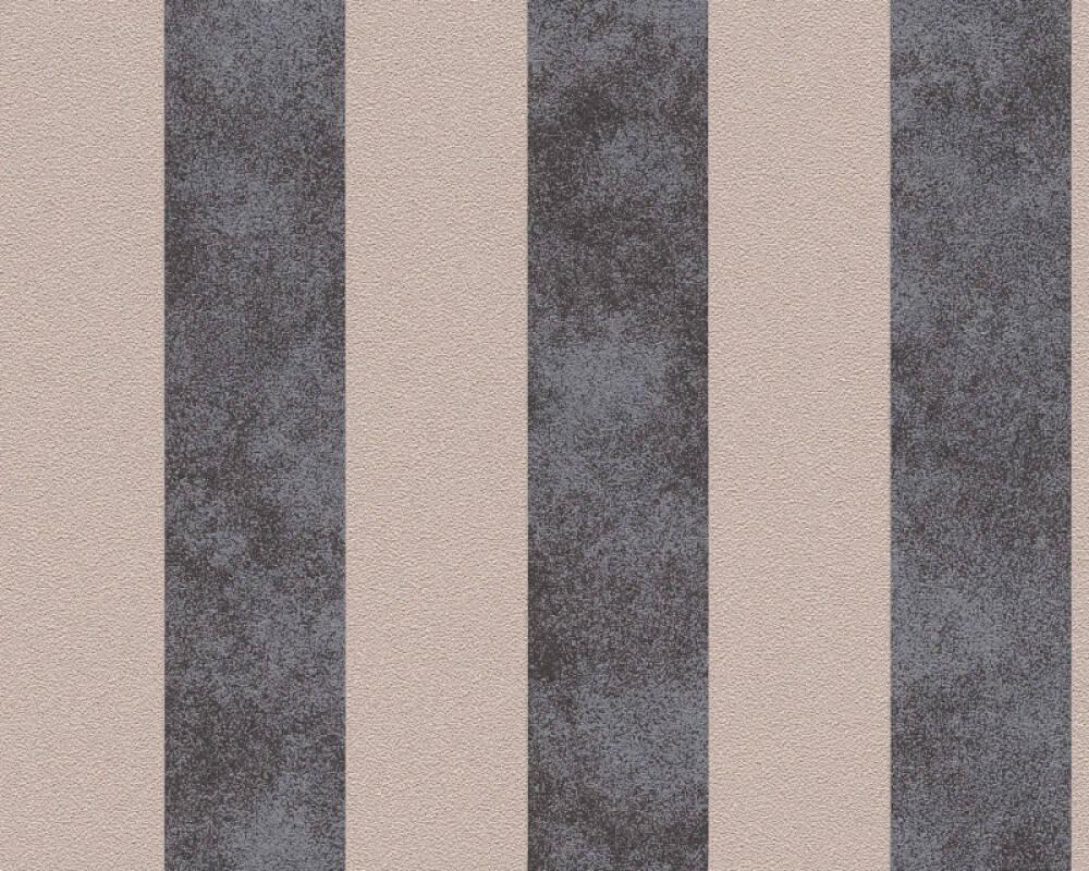 A.S. Création Wallpaper Stripes, Beige, Black, Metallic 372714