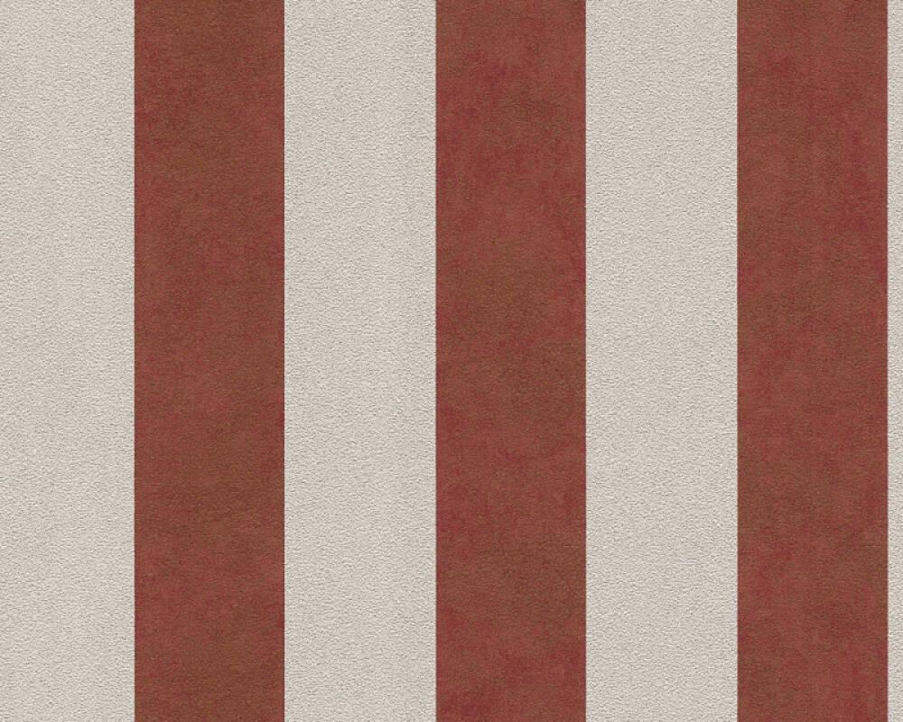 A.S. Création Wallpaper Stripes, Beige, Metallic, Red 372715