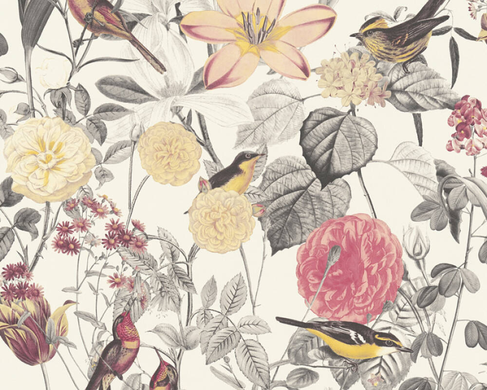 A S Creation Wallpaper Cottage Flowers Grey Pink Red Yellow