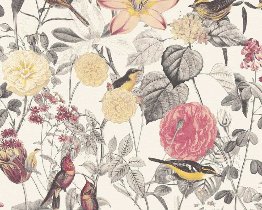 A.S. Création papier peint Maison, Fleurs, gris, jaune, rose, rouge 372761